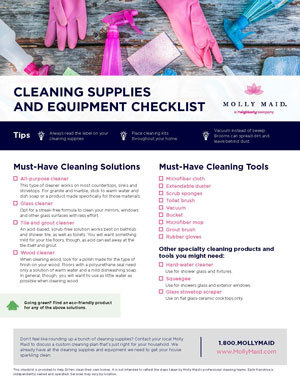 Cleaning Supply Checklist For Your Home Molly Maid