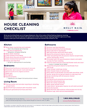 Step By Step House Cleaning Checklist Molly Maid,Furnishing A New Home
