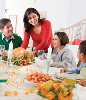 Family gathered around the table for a Thanksgiving dinner