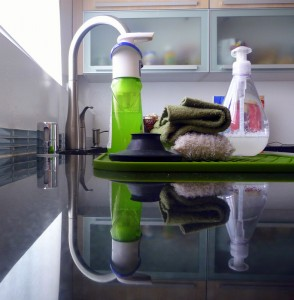 Cleaning supplies on the kitchen counter