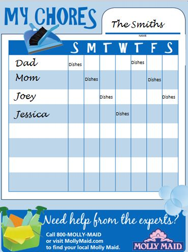 family house cleaning schedule