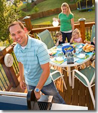 Family Enjoying Deck during Summer