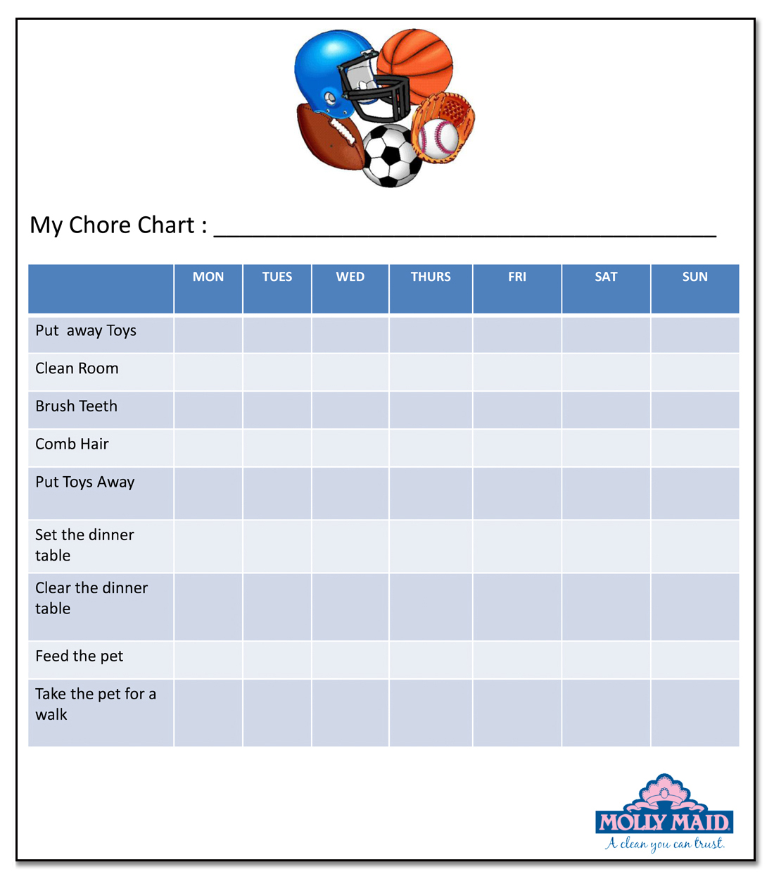 kids chore chart with boys sports on it