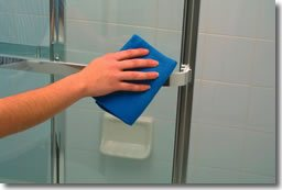 Shower Door Cleaning with Sponge