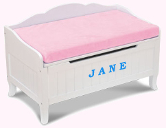 """toy chest with """"jane"""" on the front"""