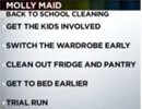 Molly Maid cleaning categories list