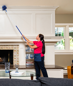 Woman dusting living room